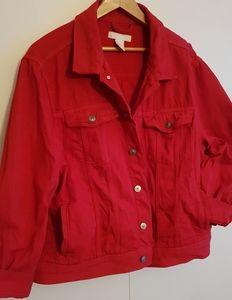 🍎 H&M Red Denim Jacket